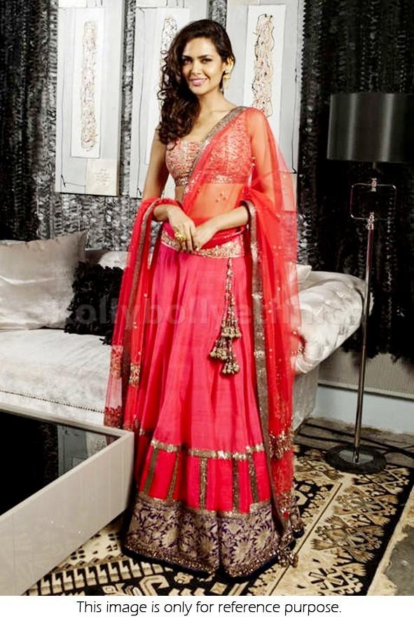 Bollywood Style Esha gupta Net and Silk Georgette lehenga in Pink color