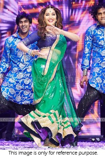 Bollywood Style Madhuri dixit net lehenga in green and dark blue color