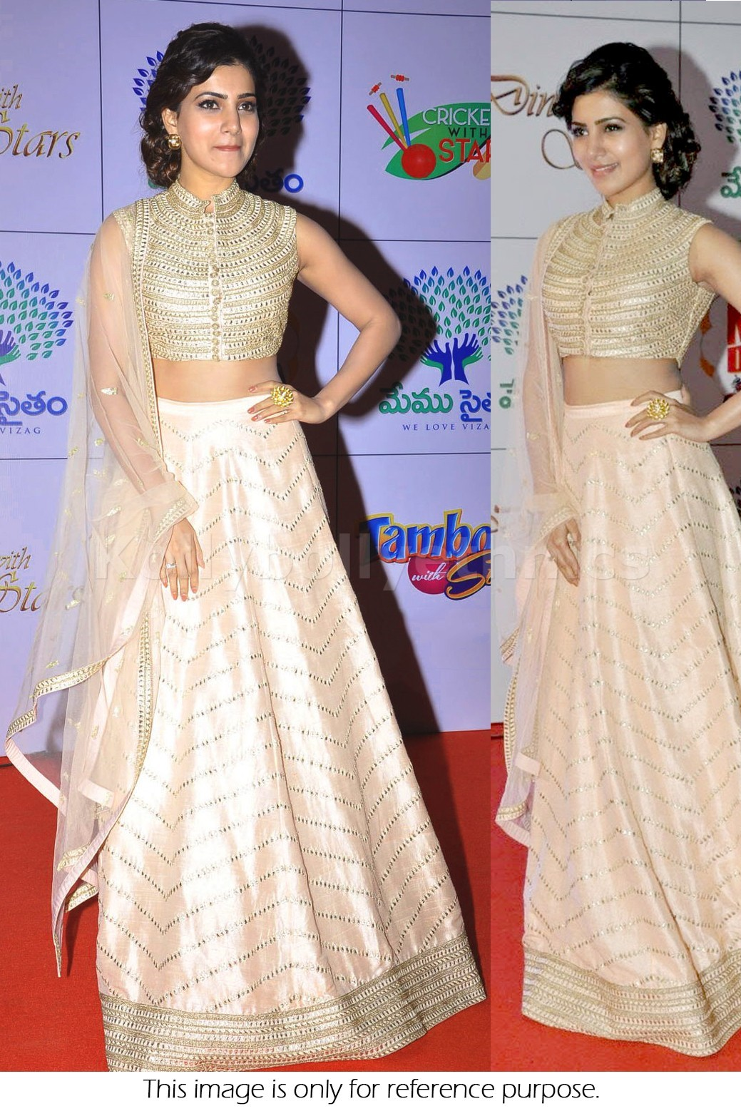 Bollywood Style Samantha Net and Silk Georgette lehenga in cream and gold color