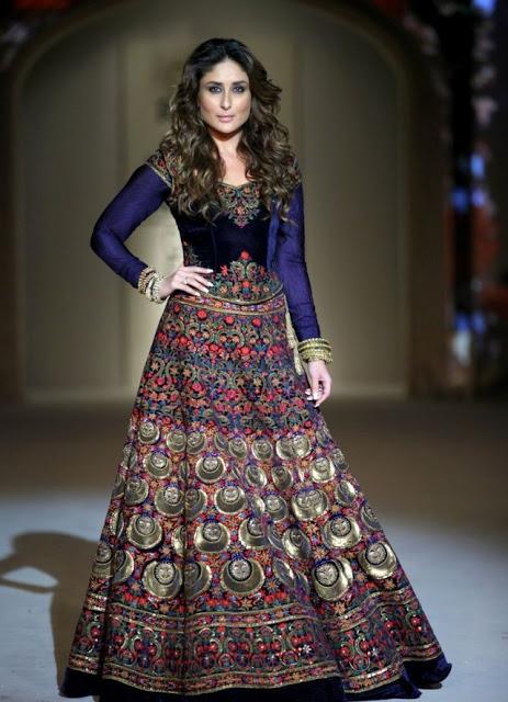 Buy Kareena Kapoor royal blue color velvet bollywood lehenga in UK, USA and Canada