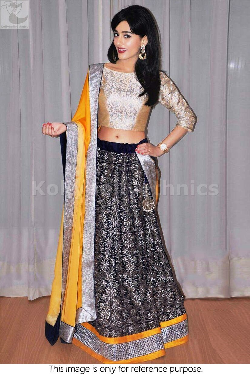 Bollywood Style Amrita Rao Wedding moss velvet Lehenga in blue while and yellow color