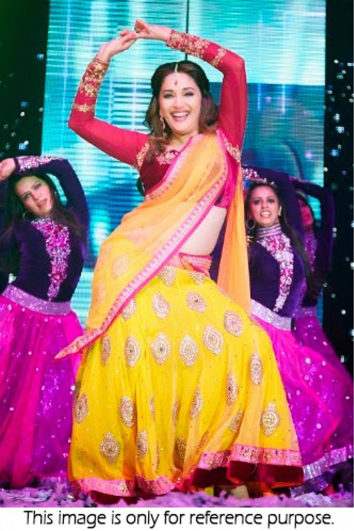 Bollywood Style Madhuri Dixit georgette and net lehenga in yellow and purle colour