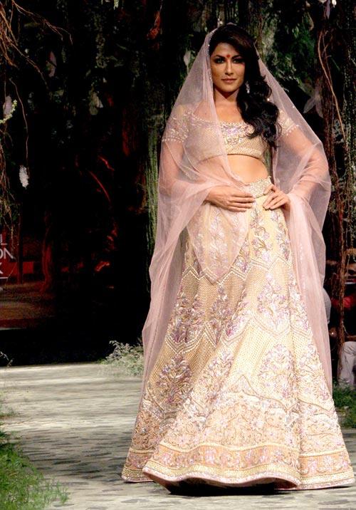 Bollywood Style Chitrangada Singh Silk lehenga in Ivory colour