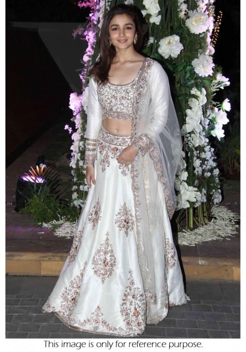 Bollywood Style Alia Bhatt Silk lehenga in white colour