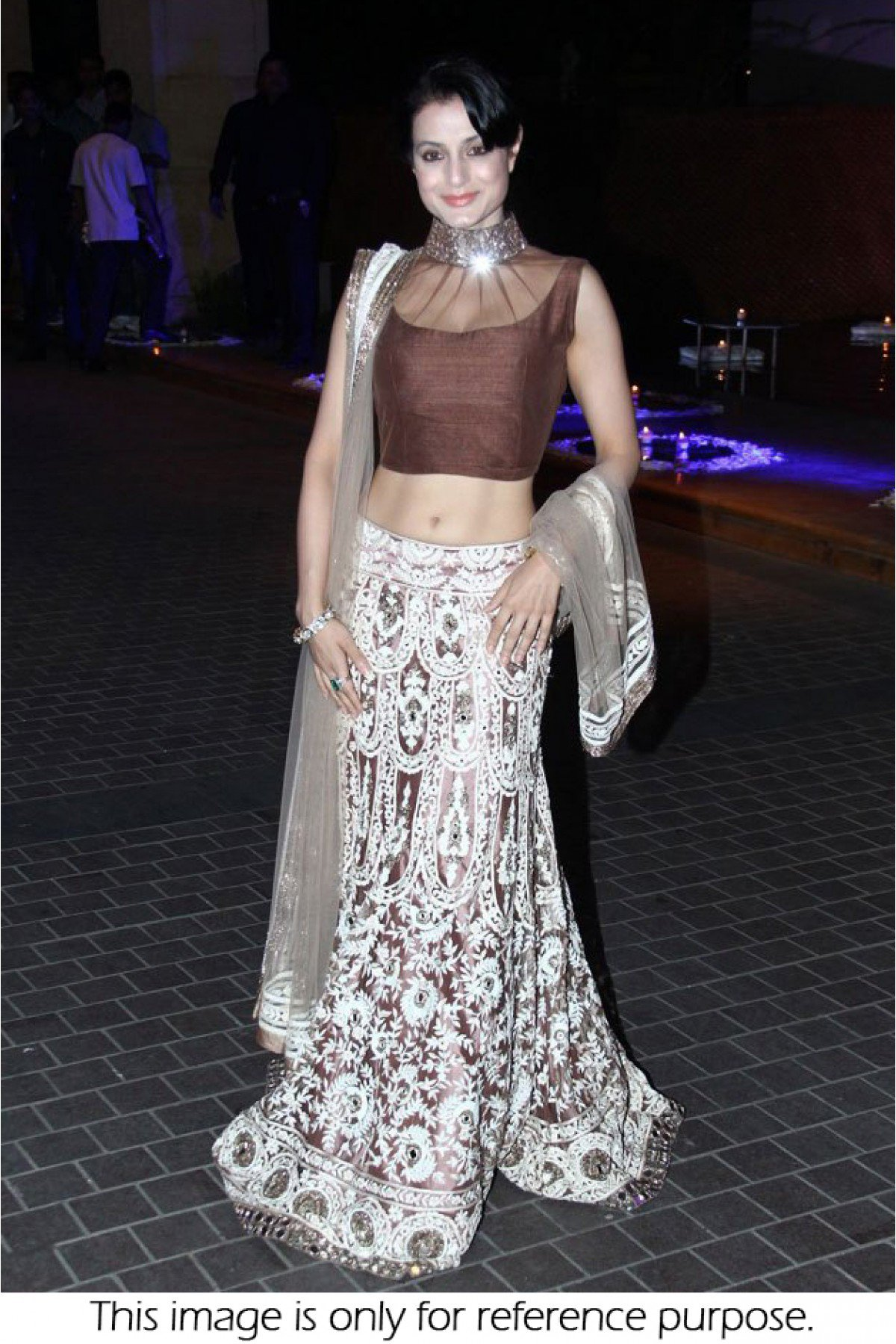 Bollywood Style Ameeshs Patel net lehenga choli in off white  and brown color