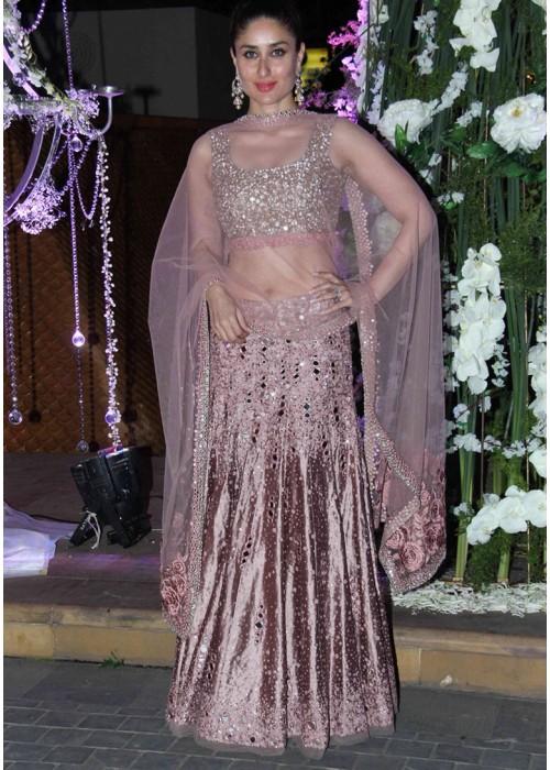 Bollywood Style Kareena Kapoor'si silk lehenga choli in Onion Pink color