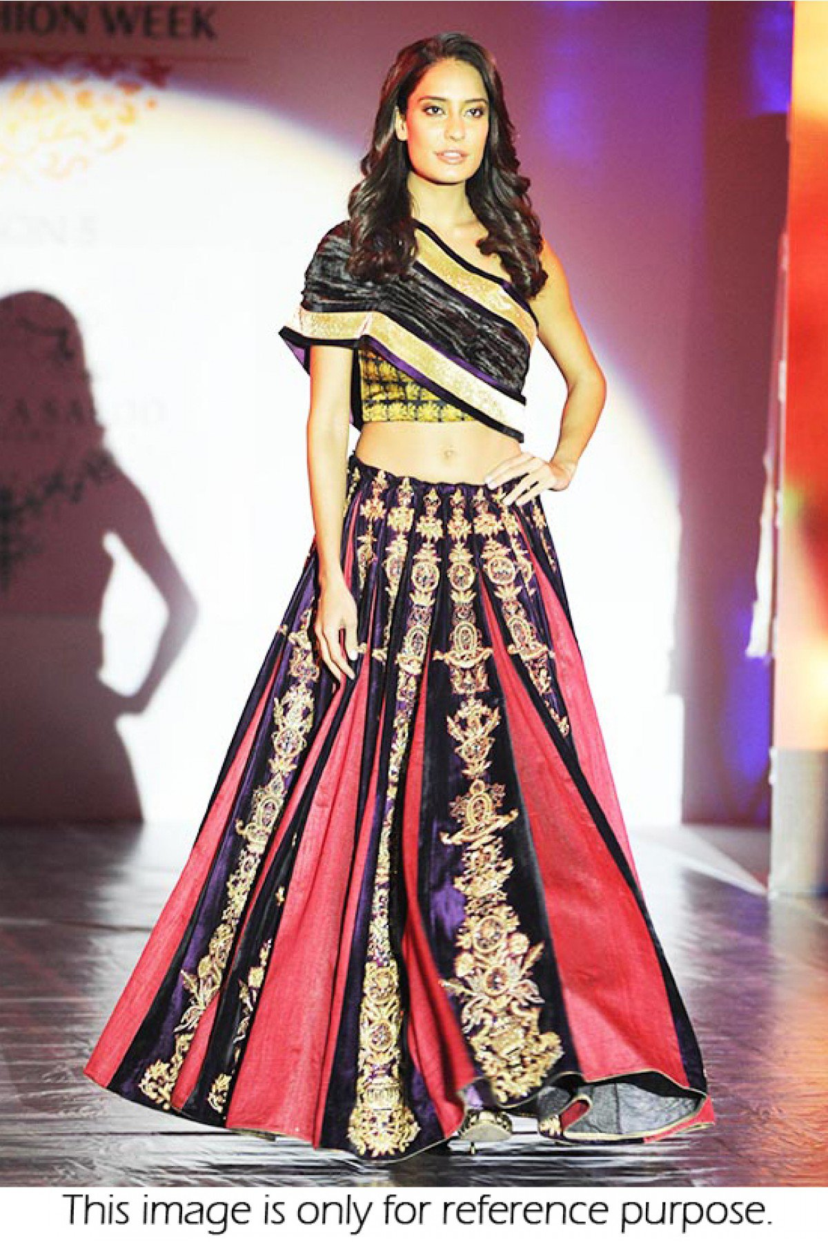 Bollywood Style Lisa Haydon silk and georgette lehenga choli in black and pink colour