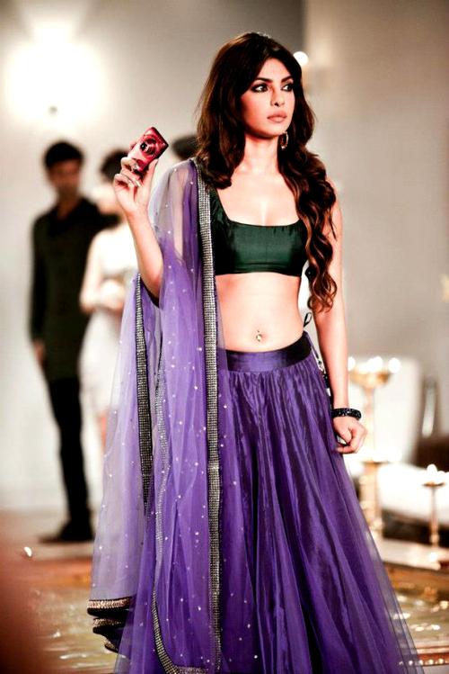 Bollywood Style Priyanka chopra net lehenga in purple color