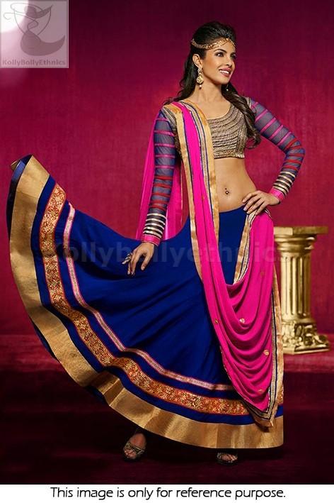 Bollywood Style Priyanka chopra Geogette lehenga in blue and pink color