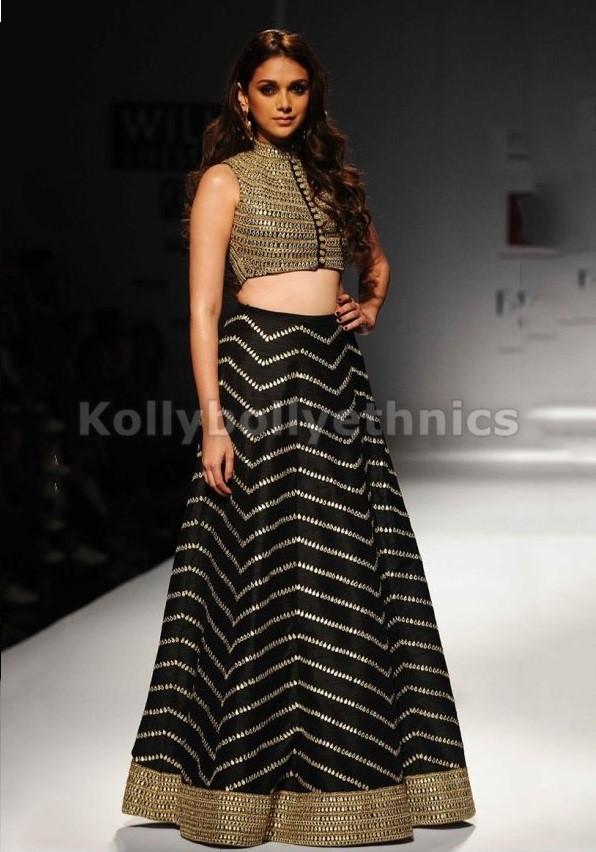 Bollywood Style Aditi hydari silk lehenga choli in Black and gold color