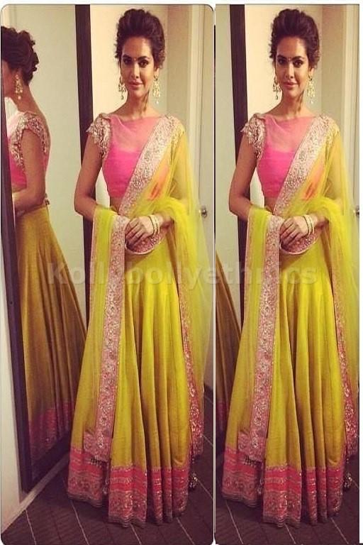 Bollywood Style Esha Gupta silk lehenga in Pink and yellow color