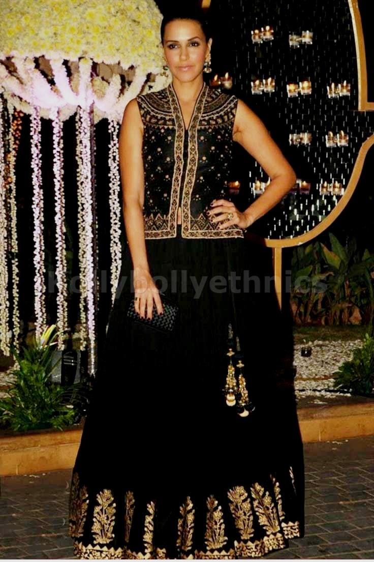 Bollywood Style Neha Dhupia georgette lehenga choli in black color