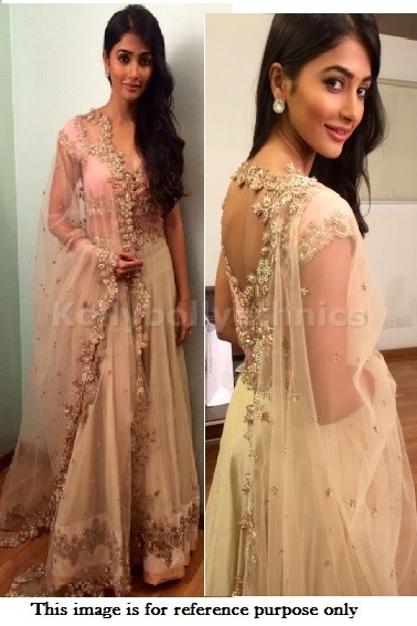 Bollywood Style Pooja hegde net lehenga in off white and pink color