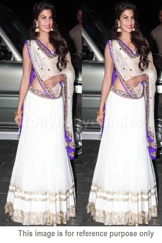 Bollywood Style Jacqueline Fernandez net and silk lehenga in white and violet