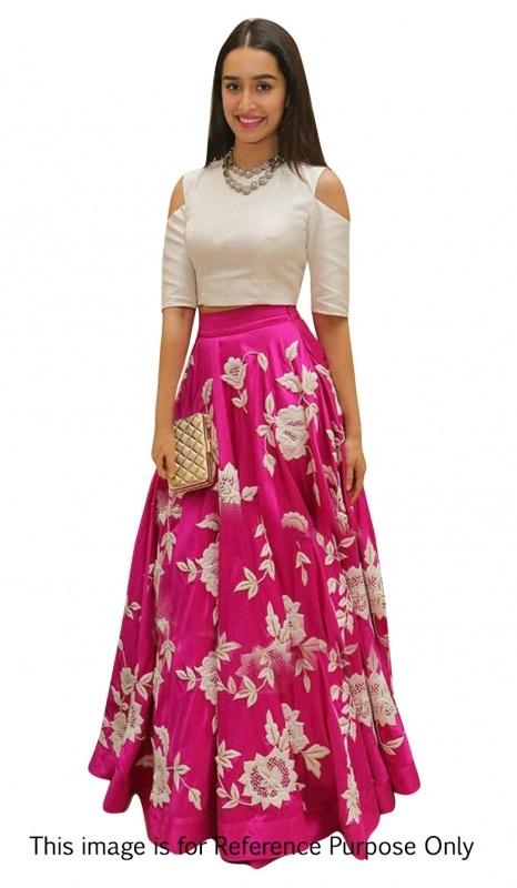 Buy Bollywood Style Shraddha das pink color bangalori silk lehenga choli in UK, USA and Canada