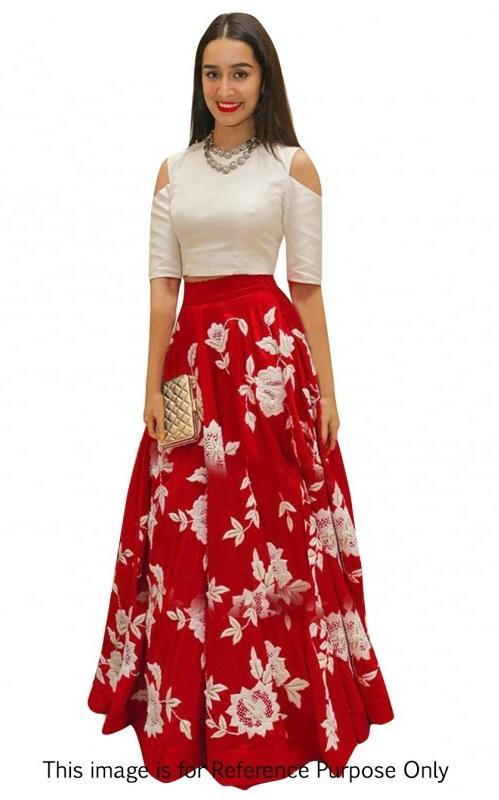 Buy Bollywood Style Shraddha das red color bangalori silk lehenga choli in UK, USA and Canada