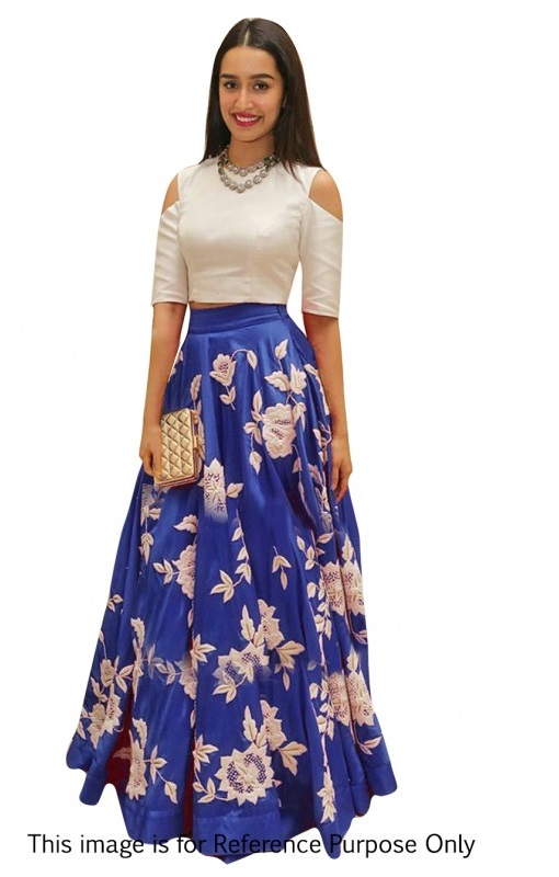 Buy Bollywood Style Shraddha das blue color bangalori silk lehenga choli in UK, USA and Canada
