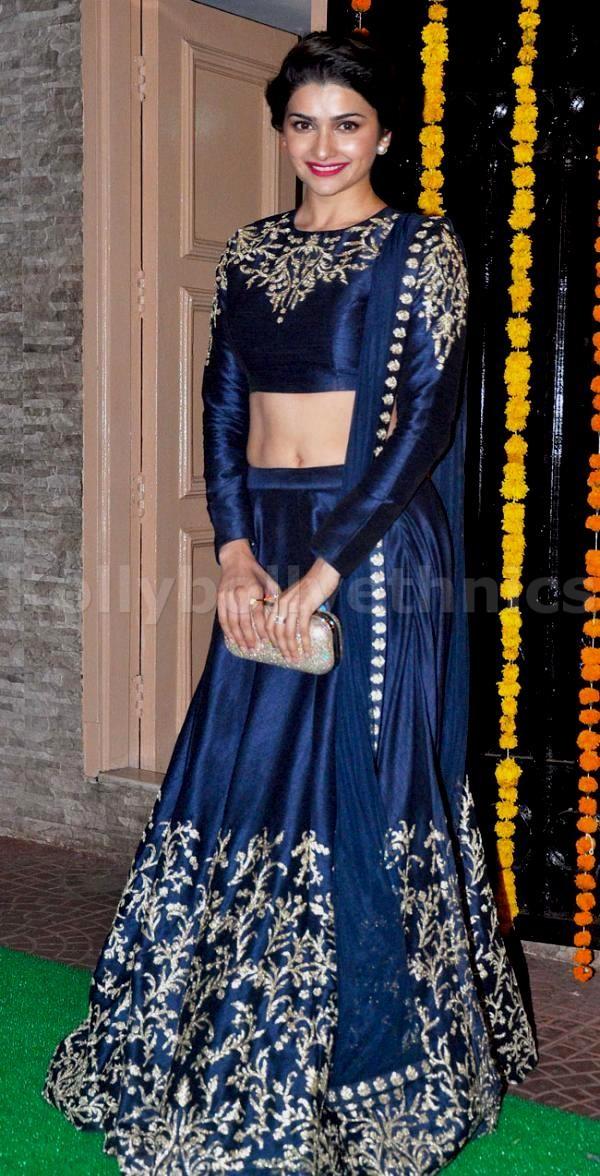 Prachi Desai Navy Blue And Gold Lehenga