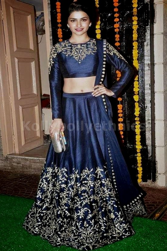 Bollywood Style Prachi desai raw silk lehenga in Navy blue and gold color