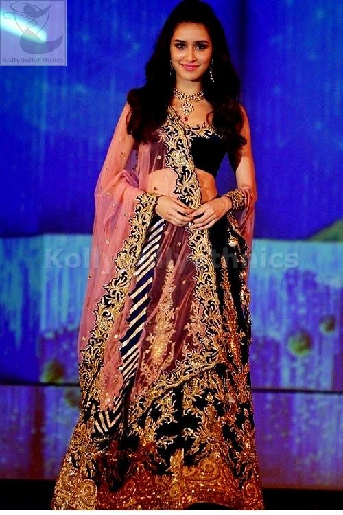 Bollywood Style Shraddha kapoor velvet bridal lehenga in dark blue color
