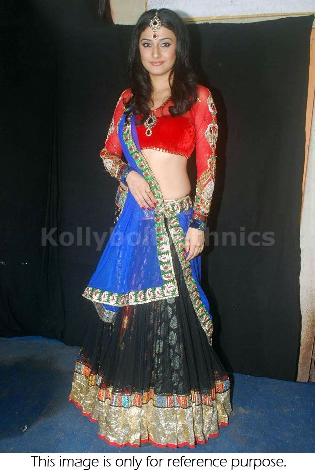 Bollywood Style Ragini Khanna net and viscous lehenga in red and black color