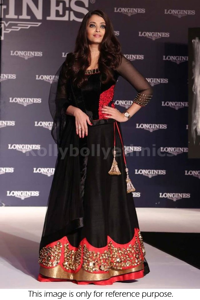 Bollywood Style Aishwarya rai french crepe shimmer lehenga in black and red color