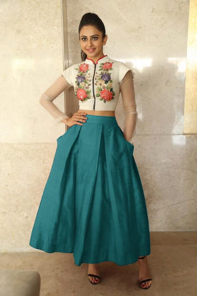 Buy Bollywood Style Rakul Preet singh white and teal green color bangalori silk lehenga choli in UK,