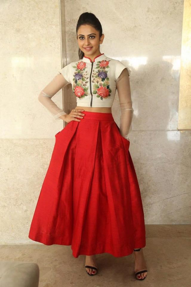Buy Bollywood Style Rakul Preet singh white and red color bangalori silk lehenga choli in UK,