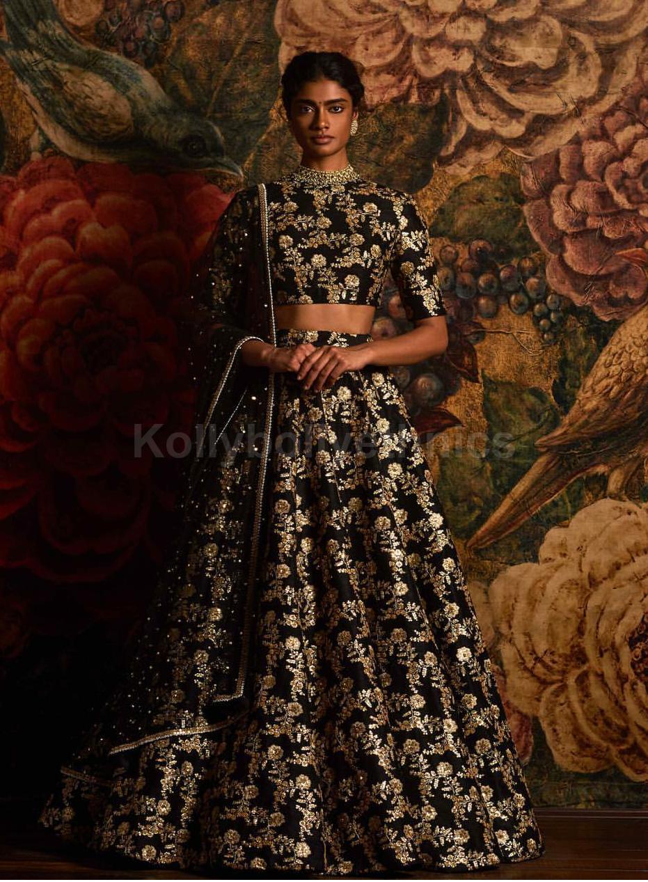 Buy Bollywood Model Black Color Raw Silk Wedding Lehenga Choli In Uk Usa And Canada