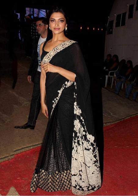 Bollywood Style Deepika Padukone Net Saree in Black color