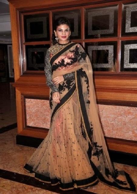 Bollywood Style Jacqueline fernandez at teachers award net lehenga style saree in coffee color