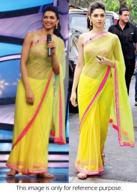 Bollywood Style Deepika Padukone Net Saree in Neon Green color