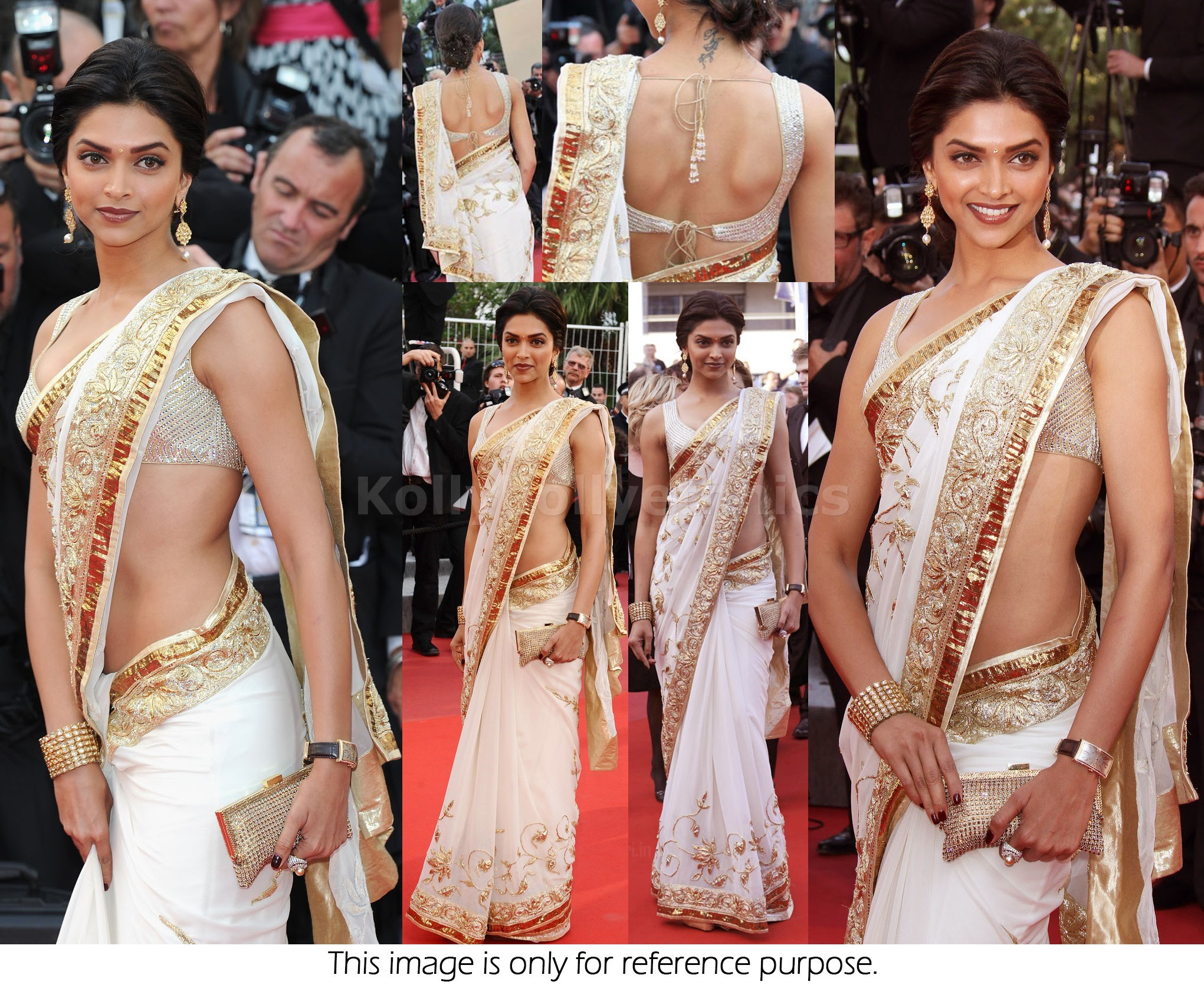 Bollywood Style Deepika padukone white and golden border bollywood saree