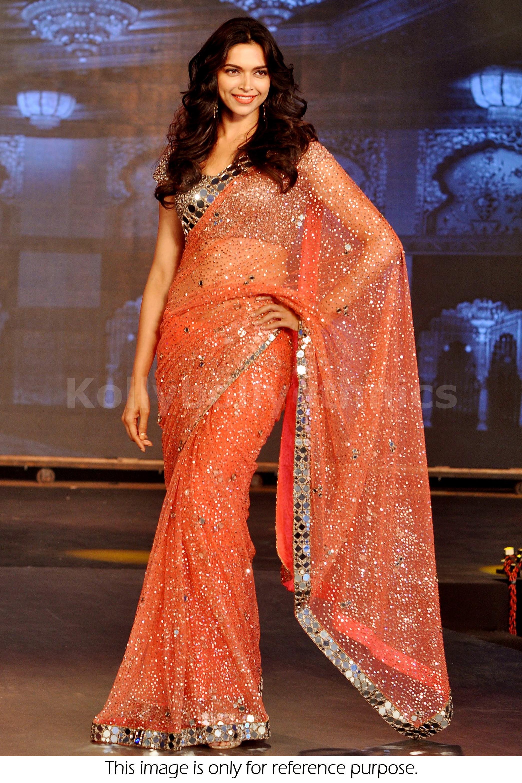 Bollywood Style Deepika Padukone Net Saree In Orange Color