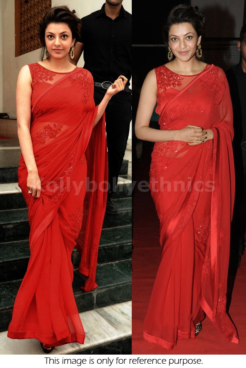Bollywood Sarees Navels: Bollywood Style Kajal Agarwal Georgette Saree In Red Color