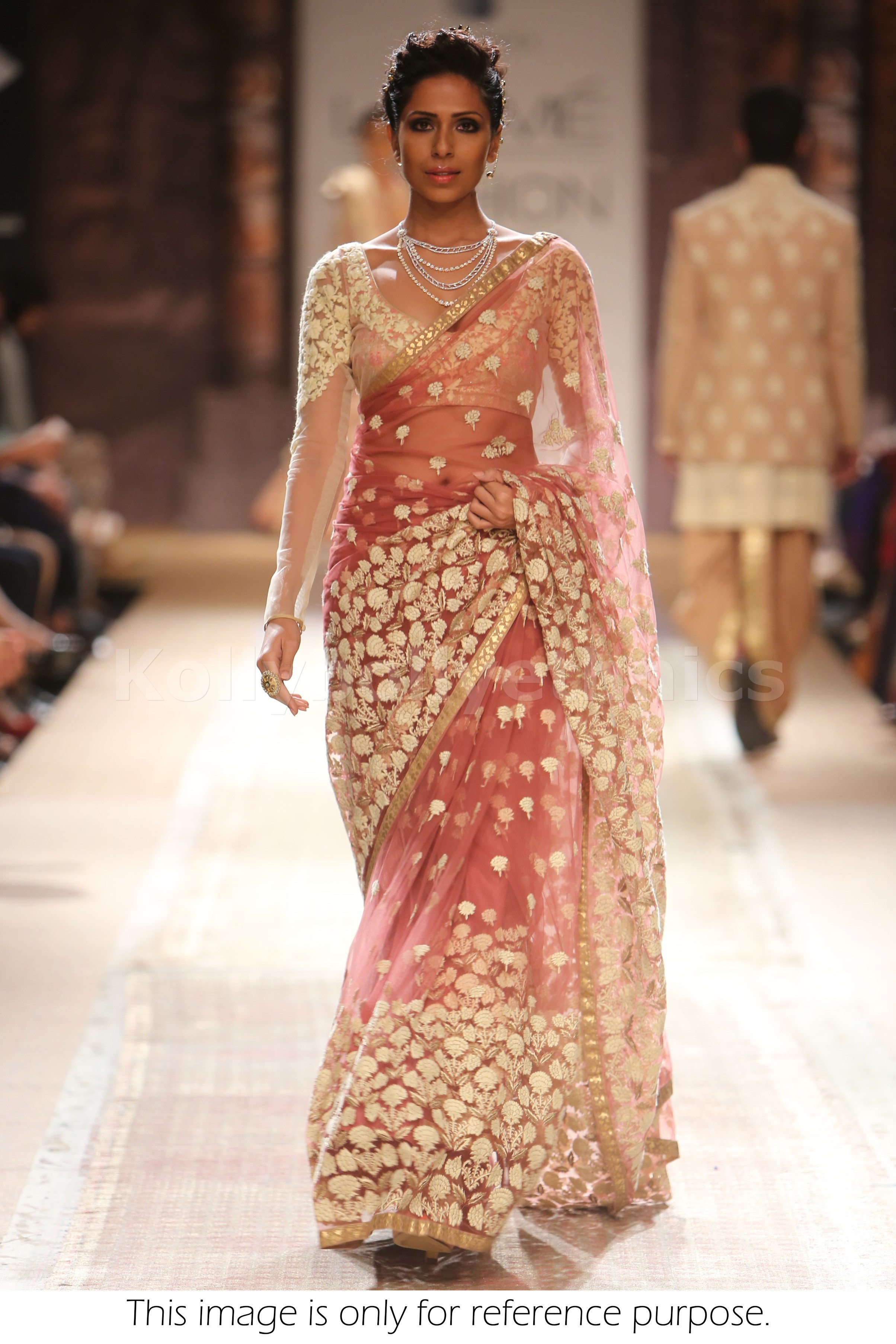 Bollywood Style Model Net Saree In Peach Color