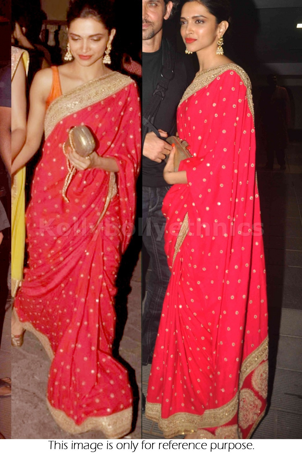 Bollywood Style Deepika Padukone Georgette Saree in Red color