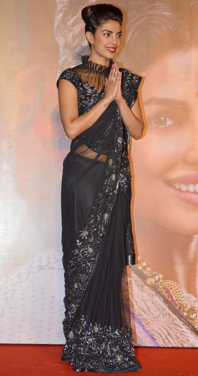 Bollywood Style Priyanka Chopra Black Color Netted Saree