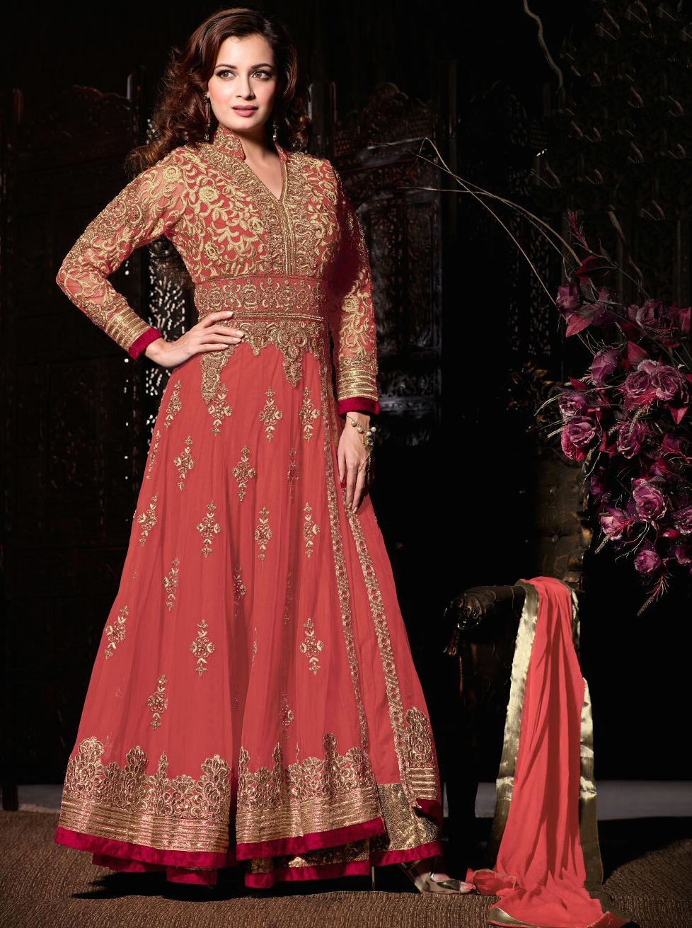 b34f6d6e0e Dia mirza light orange party wear anarkali