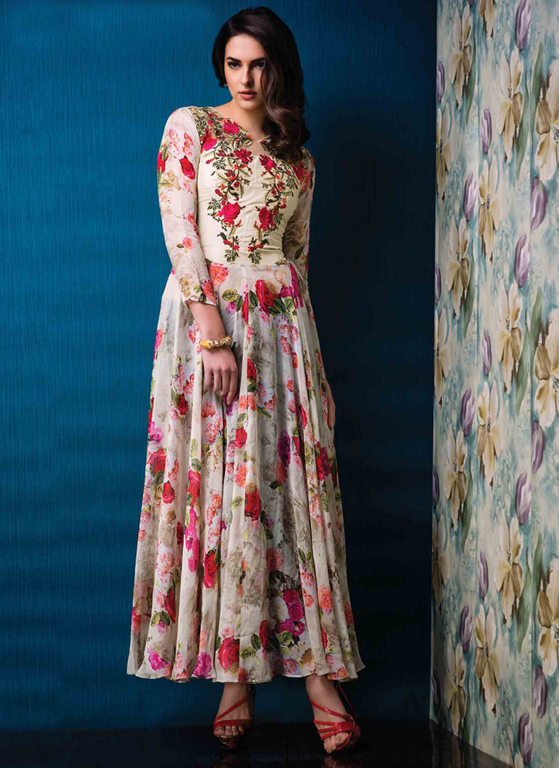 Radiant Raw Silk Multi Colour Designer Gown