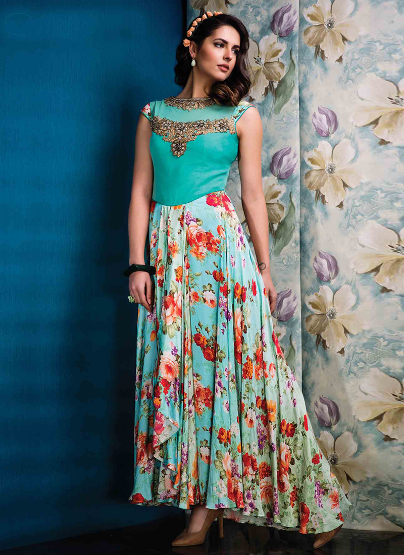 Staring Net Print Work Multi Colour Designer Gown