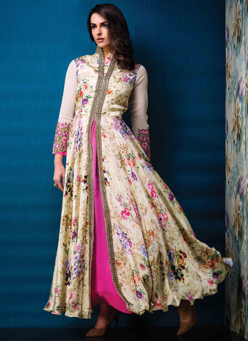 Sumptuous Multi Colour Print Work Designer Gown