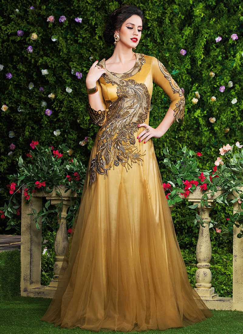 Renowned Brown Net Party Wear Gown