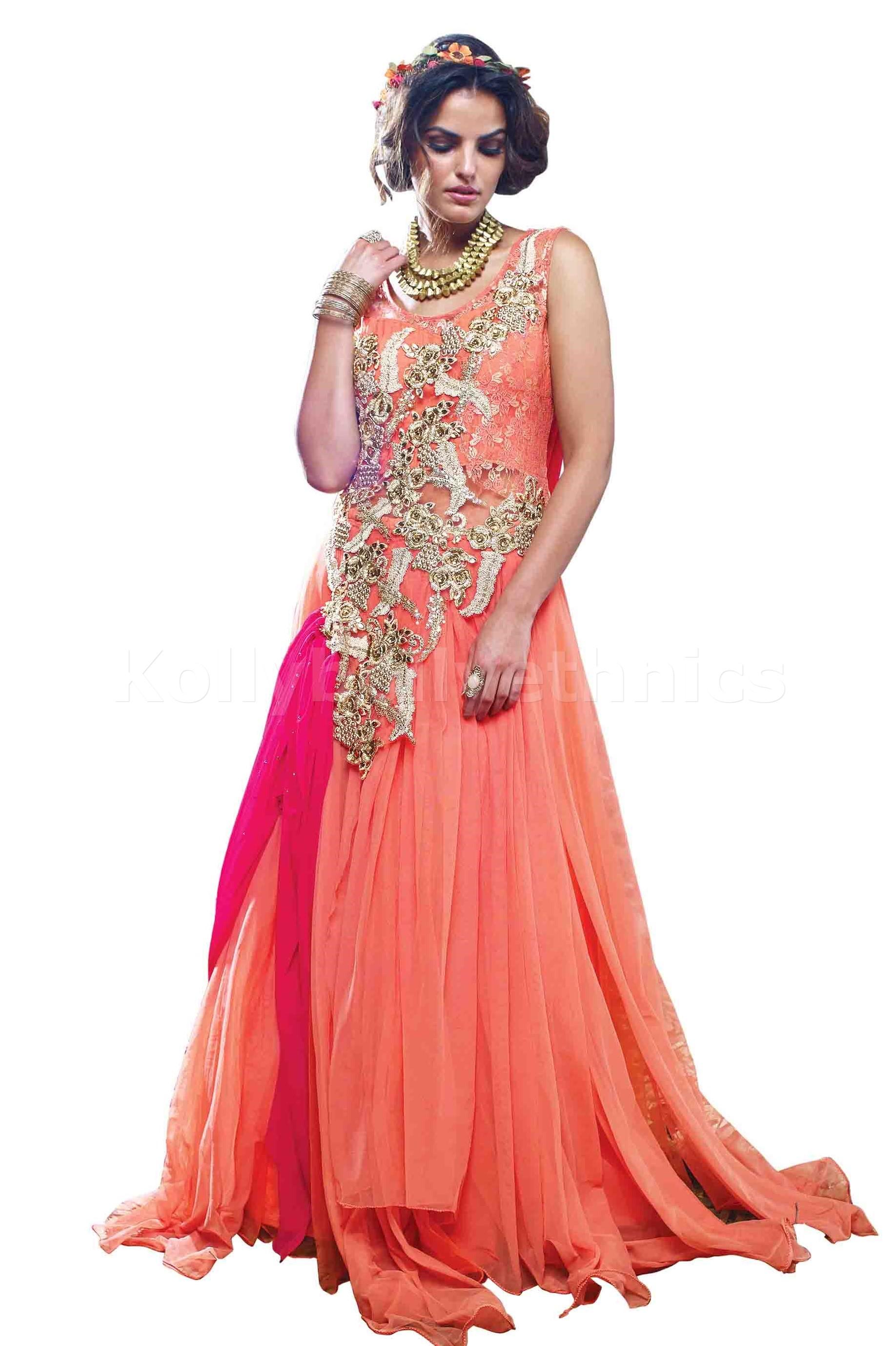 Peach colour Wedding gown