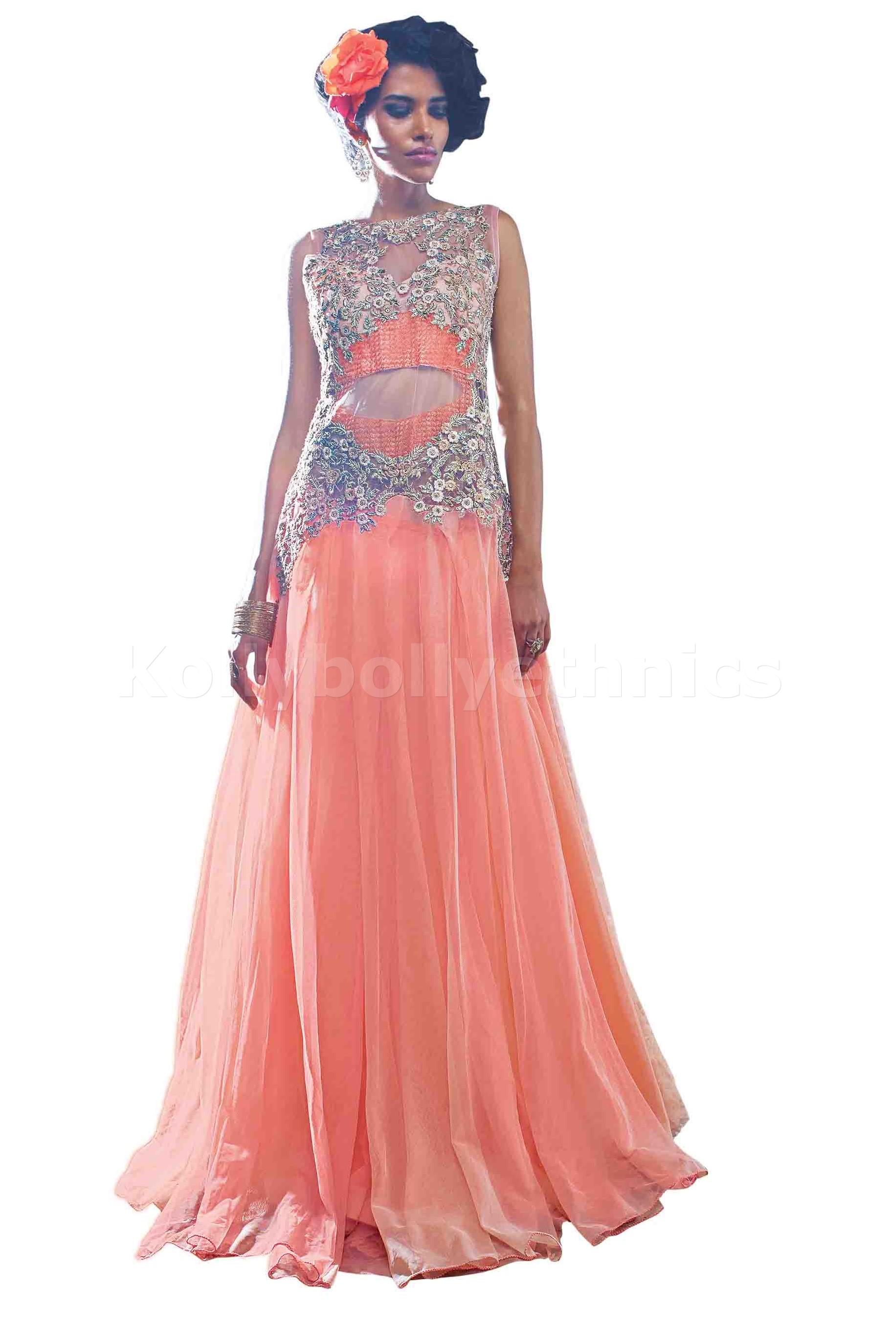Pleasant Peach colour Wedding gown
