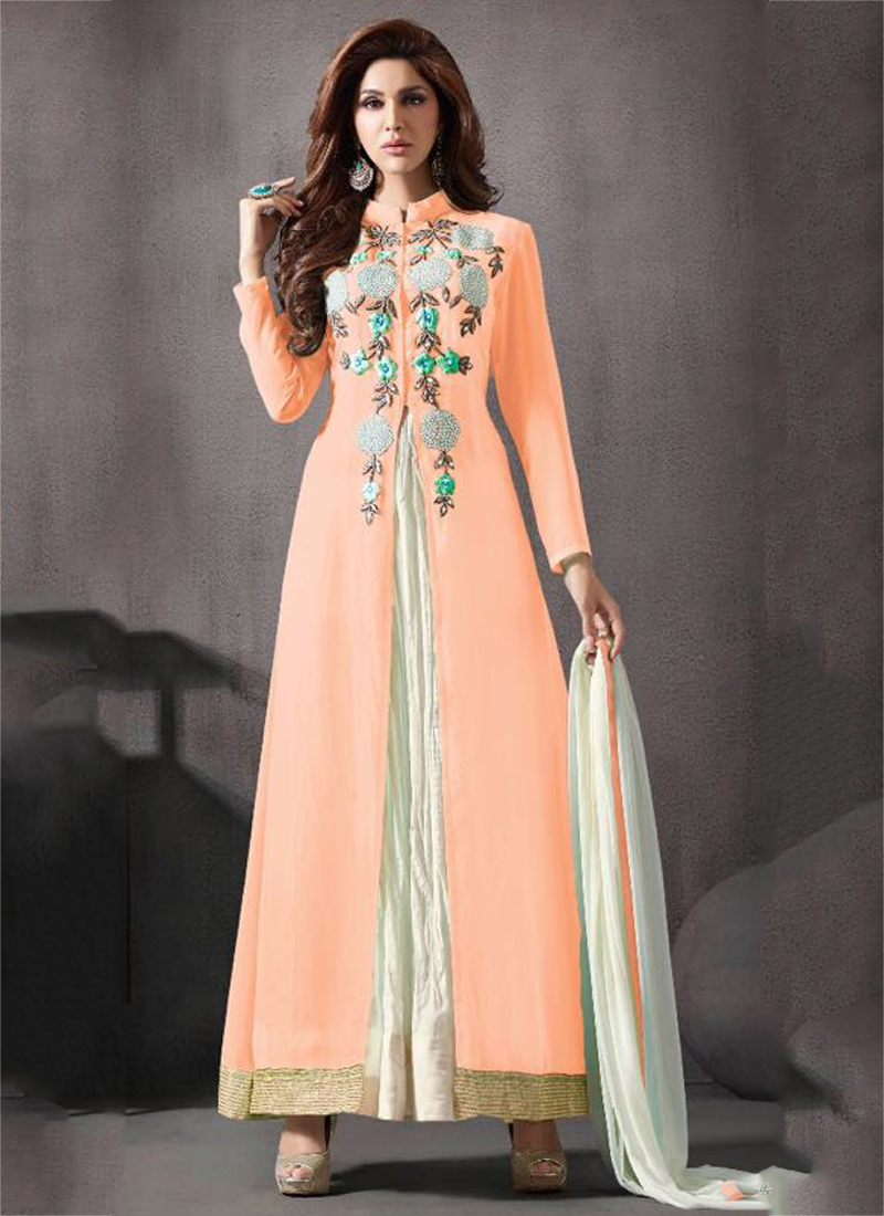 28573b184a2 Buy Peach color georgette palazzo party wear anarkali salwar kameez ...