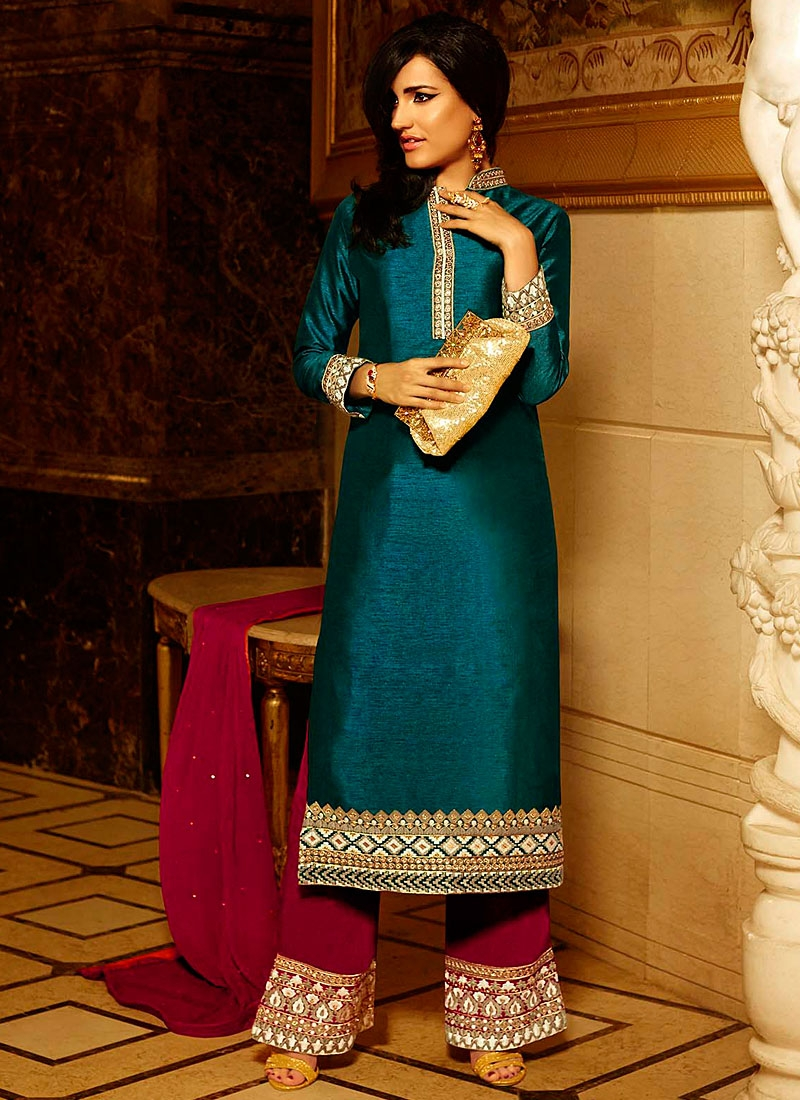 Stylish Teal Pure Silk Palazzo Churidar Suit
