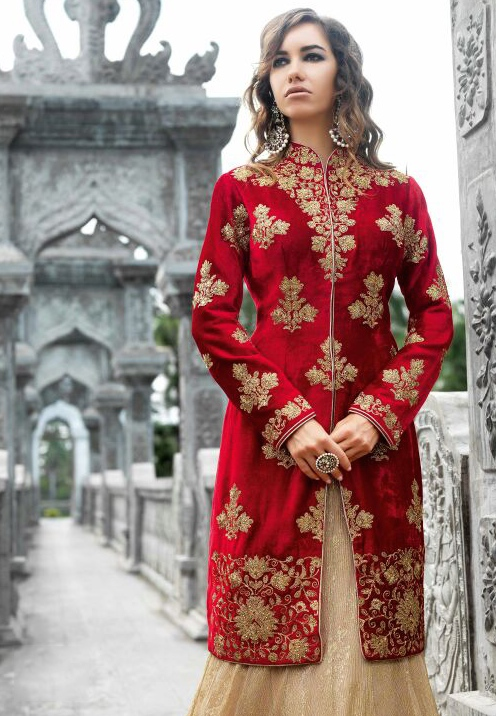 d31f209014 Buy Red and cream velvet party wear lehenga style suit in UK, USA ...