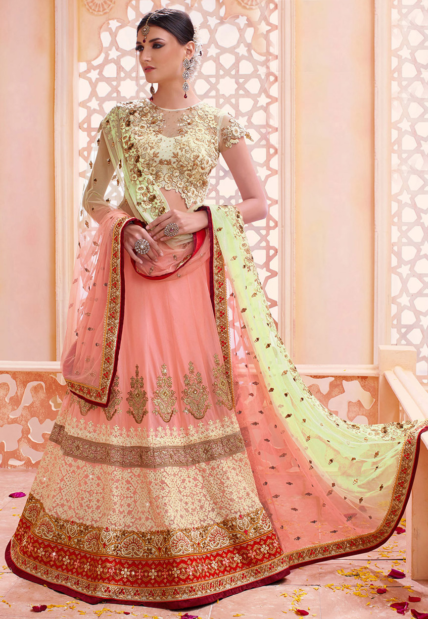 buy peach and light green color georgette wedding lehenga