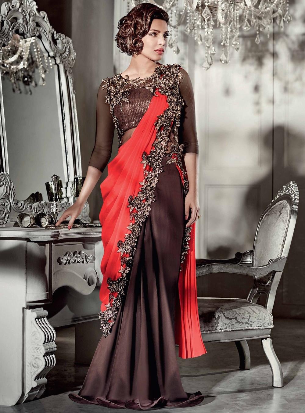 BuyPriyanka Chopra Brown And Plum Color Saree Type Wedding Gown In